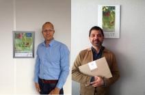Panel de información en TOP B.V. con Wouter de Heij (izquierda) y en Zerya con Javier Arizmendi (derecha).