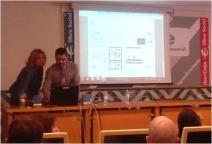 Rosa Oria (UNIZAR) y Javier Arizmendi (Zerya), durante la ponencia de éste último.