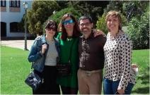 Eva Campo (Unizar), Sara Remón (Unizar), Javier Arizmendi (Zerya) y Esther Arias (PCTAD) durante la pausa en los magníficos jardines del Monasterio de Cogullada (Zaragoza) donde se celebró el curso.