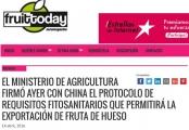 El ministerio de agricultura firmó con China el protocolo de requisitos fitosanitarios que permitirá la exportación de fruta de hueso