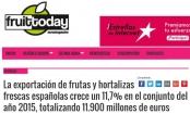 La exportación de frutas y hortalizas frescas españolas crece un 11 por ciento en el conjunto del año 2015